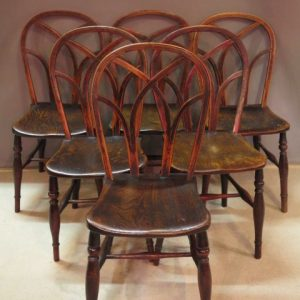 SIX 19TH CENTURY GOTHIC WINDSOR CHAIRS