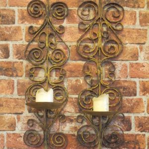 CAST IRON CANDLE WALL SCONCES