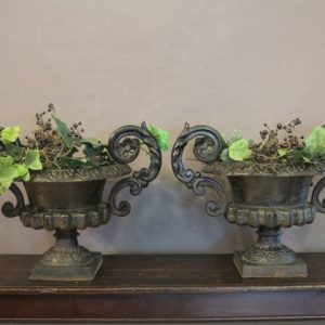 PAIR OF CAST IRON URNS…….RESERVED