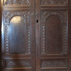 A PAIR OF CARVED 17TH CENTURY DOORS