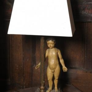 AN 18TH CENTURY FIGURINE LAMP