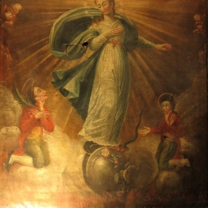 A FRENCH RELIGIOUS OIL PAINTING